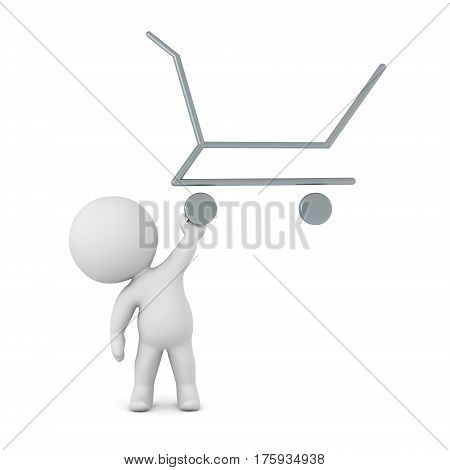 3D character holding up a shopping cart outline. Isolated on white background.