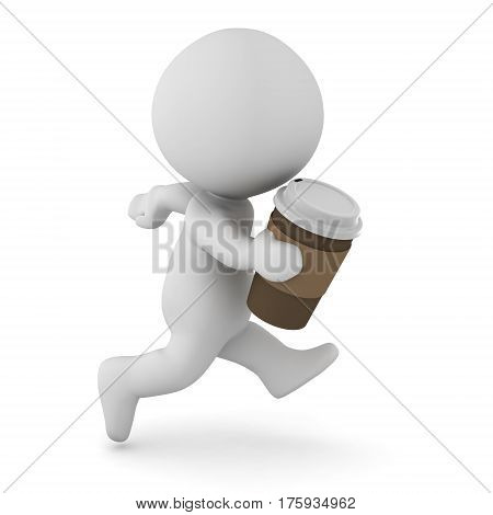 A 3D character running with a cup of coffee in his hand. Isolated on white background.