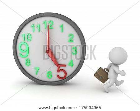 A 3D character with a business suitcase walking away from a clock showing 5 o clock. Isolated on white background.