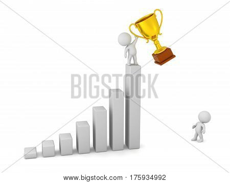 3D character with a gold trophy standing on a bar chart. Isolated on white background.