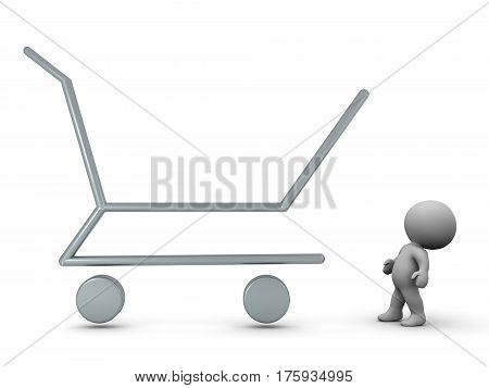 3D character looking at a large shopping cart outline. Isolated on white background.