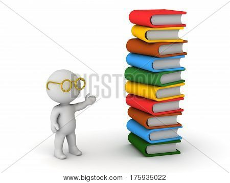 3D character with glasses showing a stack of large books. Isolated on white background.