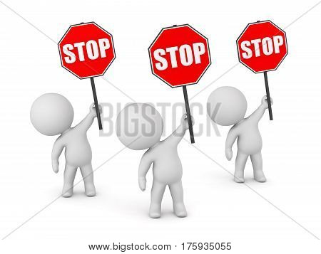 Three 3D characters holding up stop signs. Isolated on white background.