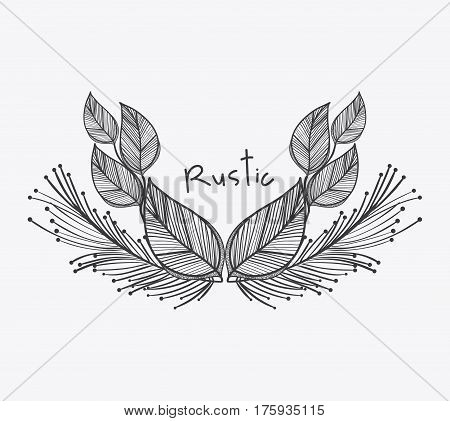 gray rustic leaves icon, vector illustraction design