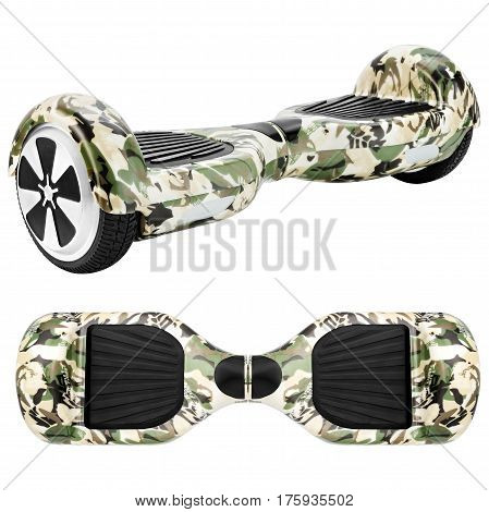 Camouflage hover Board, on a White Background