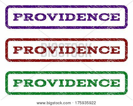 Providence watermark stamp. Text caption inside rounded rectangle frame with grunge design style. Vector variants are indigo blue, red, green ink colors. Rubber seal stamp with dust texture.