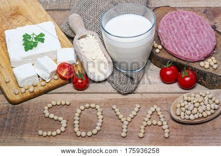 soya word with food on wood background - food