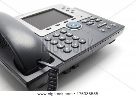 IP Phone on white background (Close-Up view from the side)