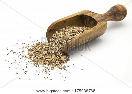 Flax chia and sesame seeds in wooden scoop on white isolated background
