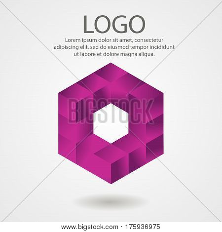 Vector Abstract Logo From Cubes, 3D Illustratio
