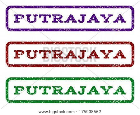Putrajaya watermark stamp. Text tag inside rounded rectangle with grunge design style. Vector variants are indigo blue, red, green ink colors. Rubber seal stamp with dust texture.