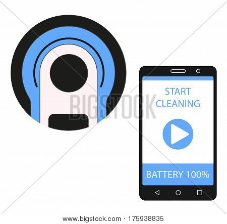 Smartphone app for control of robot vacuum cleaner. Vacuum cleaner remote control. Vector illustration.