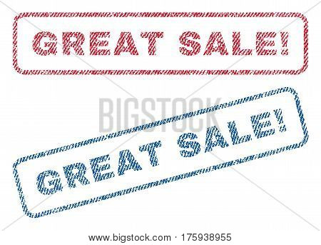 Great Sale exclamation text textile seal stamp watermarks. Blue red fabric vectorized texture. Vector tag inside rounded rectangular shape. Rubber sign with fiber textile structure.