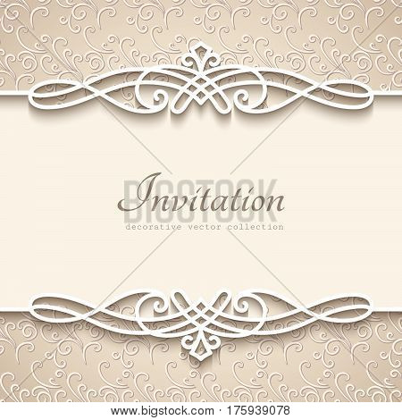Vintage background with cutout paper border decoration, decorative flourish frame template, wedding invitation or announcement template