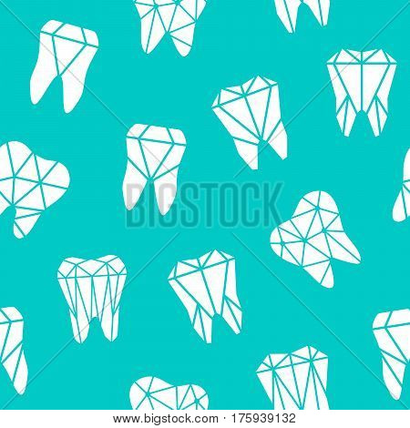 Seamless pattern with symbols of teeth - polygonal low poly in blue and white