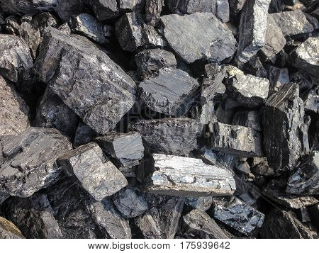 heap of black coal. industry and energy
