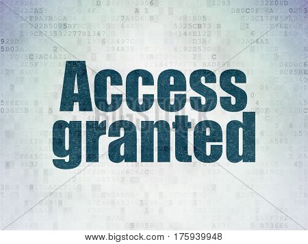 Protection concept: Painted blue word Access Granted on Digital Data Paper background