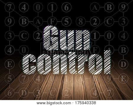 Security concept: Glowing text Gun Control in grunge dark room with Wooden Floor, black background with Scheme Of Hexadecimal Code