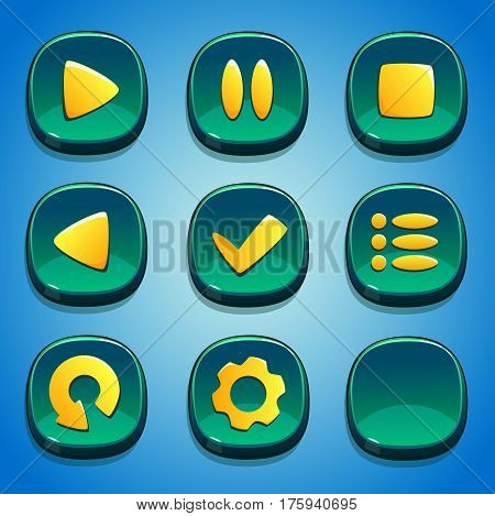 Turquoise buttons set. GUI and UI elements.