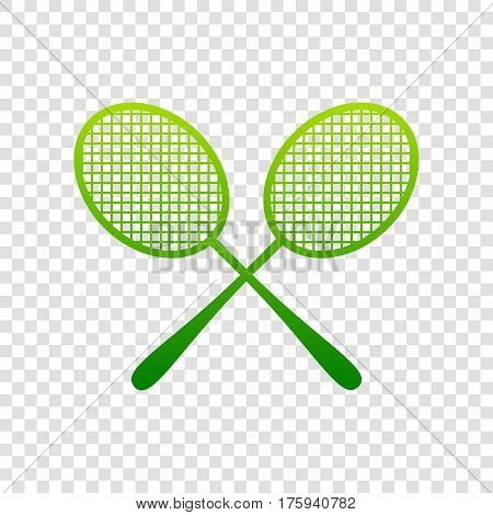 Tennis racquets sign. Vector. Green gradient icon on transparent background.