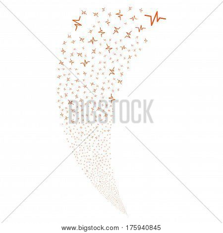 Pulse random fireworks stream. Vector illustration style is flat orange iconic symbols on a white background. Object fountain combined from scattered design elements.