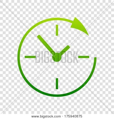 Service and support for customers around the clock and 24 hours. Vector. Green gradient icon on transparent background.
