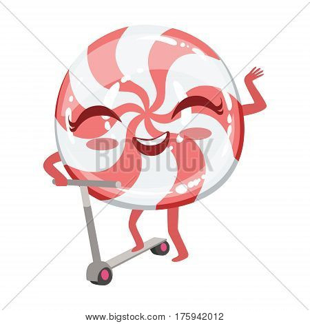 Hard Candy On Scooter Cute Anime Humanized Cartoon Food Character Emoji Vector Illustration. Funny Product With Arms And Legs Childish Design Isolated Icon.