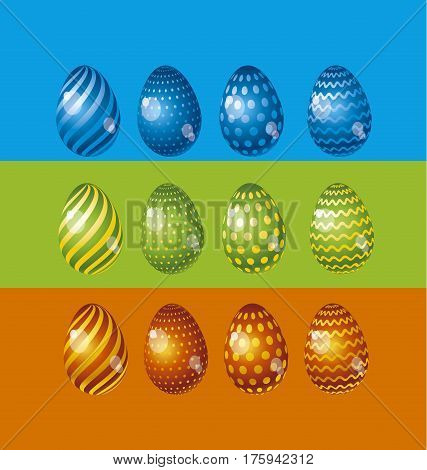 Rainbow vivid color Easter egg vector illustration set. Bright simple kid-style christian resurrection symbol. Egg life icon with assorted simple pattern and color