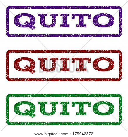 Quito watermark stamp. Text caption inside rounded rectangle frame with grunge design style. Vector variants are indigo blue, red, green ink colors. Rubber seal stamp with dust texture.