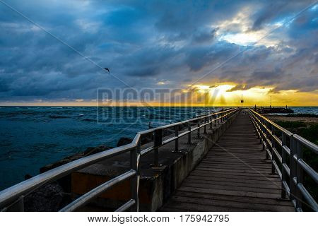 A PIER LEADING TO THE SUNRISE OVER THE OCEAN WITH BIRDS AND FISHERMEN ON THE PIER, PELICANS ON THE ROCKS, A BIRD FLYING AND SUN RAYS GLOWING