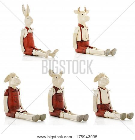Decorative figurines, statuette, accessories for an interior, isolated white background