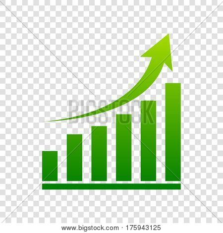 Growing Graph Sign. Vector. Green Gradient Icon On Transparent Background.