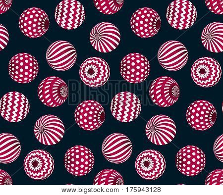 circle red beads on black background. creative modern geometry style seamless pattern for wrapping paper, music poster, flyers, backdrop. contemporary repeatable geometric motif inspired by Ukraine traditional stile