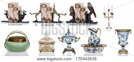 Decorative figurines, statuette, accessories for interior, isolated white background