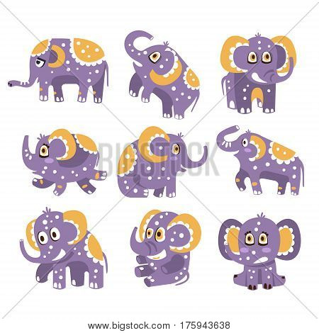 Stylized Elephant With Polka-Dotted Pattern Series Of Childish Stickers Or Prints Of Friendly Toy Animal In Violet And Yellow Color. Childish Cartoon Vector Icons With African Fauna Animal Isolated On White Background.