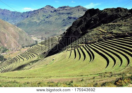 Incas Terraces in Pisac  in the Urubamba Valley, Peru