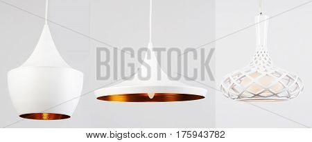 Chandelier, collage, three chandeliers, on isolated white background