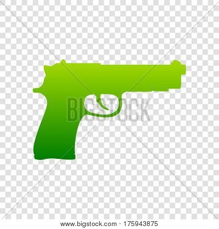 Gun Sign Illustration. Vector. Green Gradient Icon On Transparent Background.