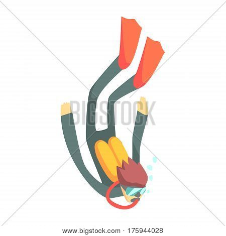 Scuba Diver In Diving Gear Descening, Part Of Teenagers Practicing Extreme Sports For Recreation Set Of Cartoon Characters. Stylized Geometric Illustration With Young Man Doing Extremal Sport For Hobby.