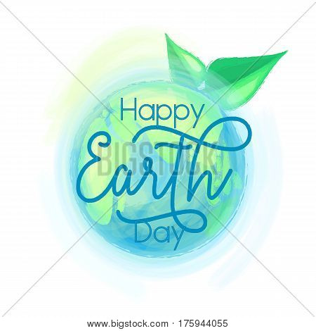 Vector illustration of mother earth globe and green leaves, background for happy Earth day with typography lettering text sign