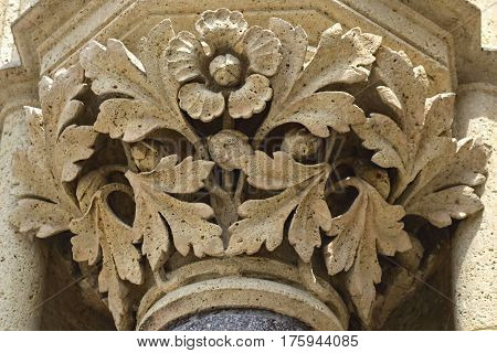 Detail of the pillar at Zagreb cathedral, Zagreb, Croatia