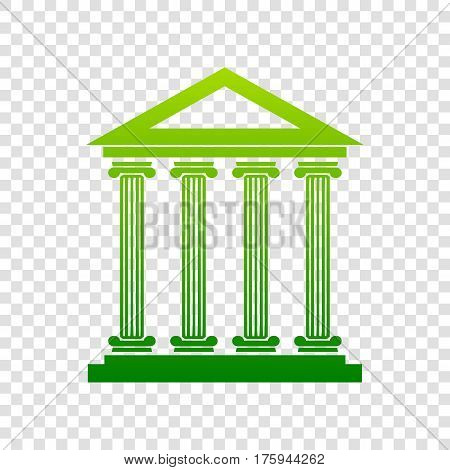 Historical Building Illustration. Vector. Green Gradient Icon On Transparent Background.
