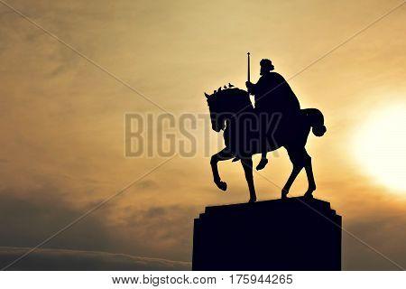 King Tomislav statue and birds, Zagreb, Croatia