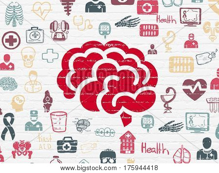 Healthcare concept: Painted red Brain icon on White Brick wall background with  Hand Drawn Medicine Icons
