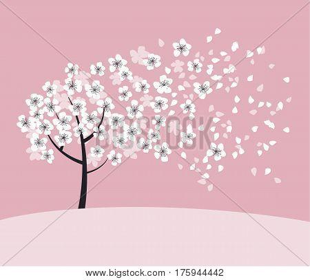 white sakura tree blossom on pink rosy background. elegant naive spring floral design element for invitation, card, poster, greetings, wedding.