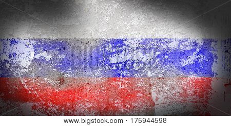 Grunge Russia flag on stone texture background closeup