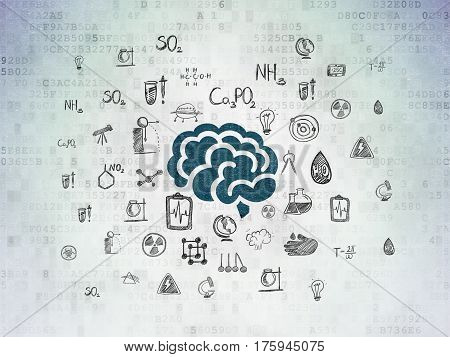 Science concept: Painted blue Brain icon on Digital Data Paper background with  Hand Drawn Science Icons