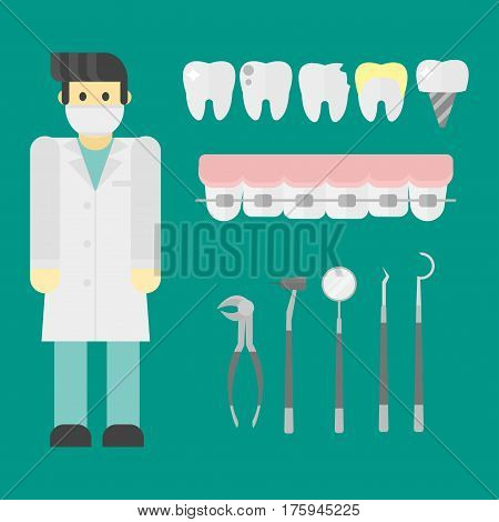Flat health care dentist symbols research medical tools healthcare system concept and medicine instrument hygiene stomatology engineering vector illustration. Oral clinical enamel ambulance equipment.