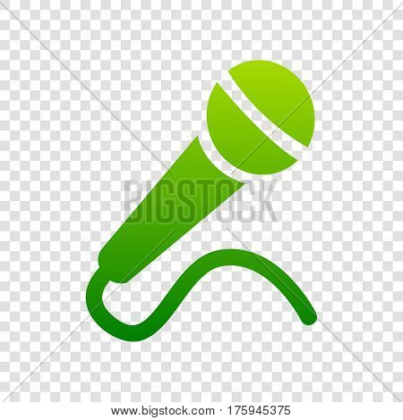 Microphone Sign Illustration. Vector. Green Gradient Icon On Transparent Background.