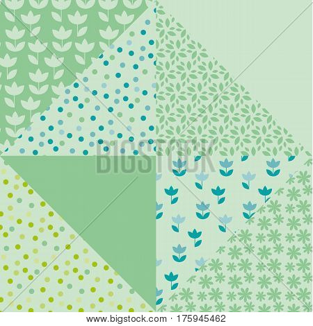 bright spring color tulip flower and geometry motif patchwork. simple assorted patch vector illustration design. seamless background for wrapping paper or fabric